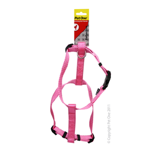 Harness Nylon Reflective Adjustable 40 to 65cm 25mm Pink