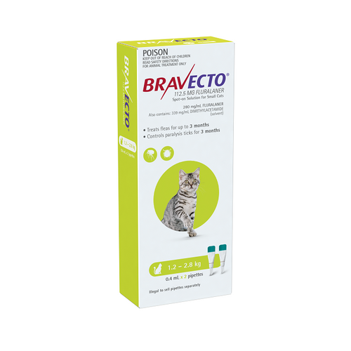 Bravecto Cat Spot On 1.2-2.8KG 2PK