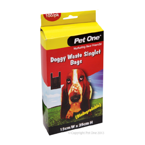 Doggy Waste Singlet Bags Biodegradable 100 Bags