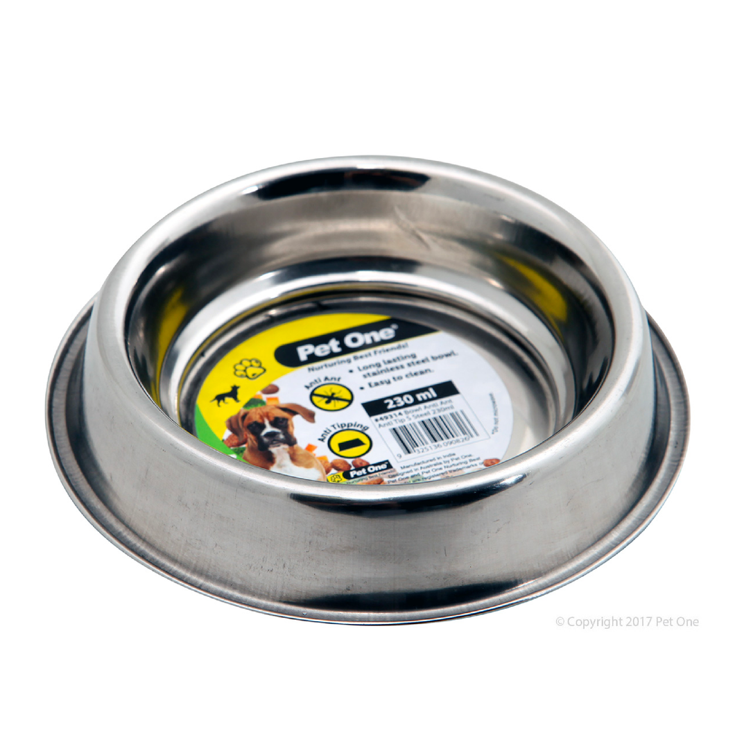Bowl Anti Ant Anti Tip Stainless Steel 230ml