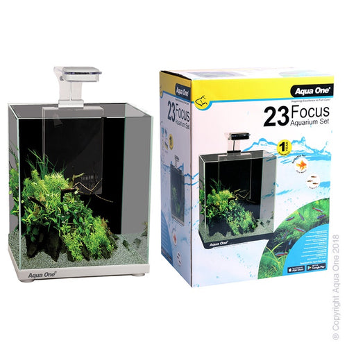 Focus 23 Glass Aquarium 23L 30L X 22D X 41cm H (White)