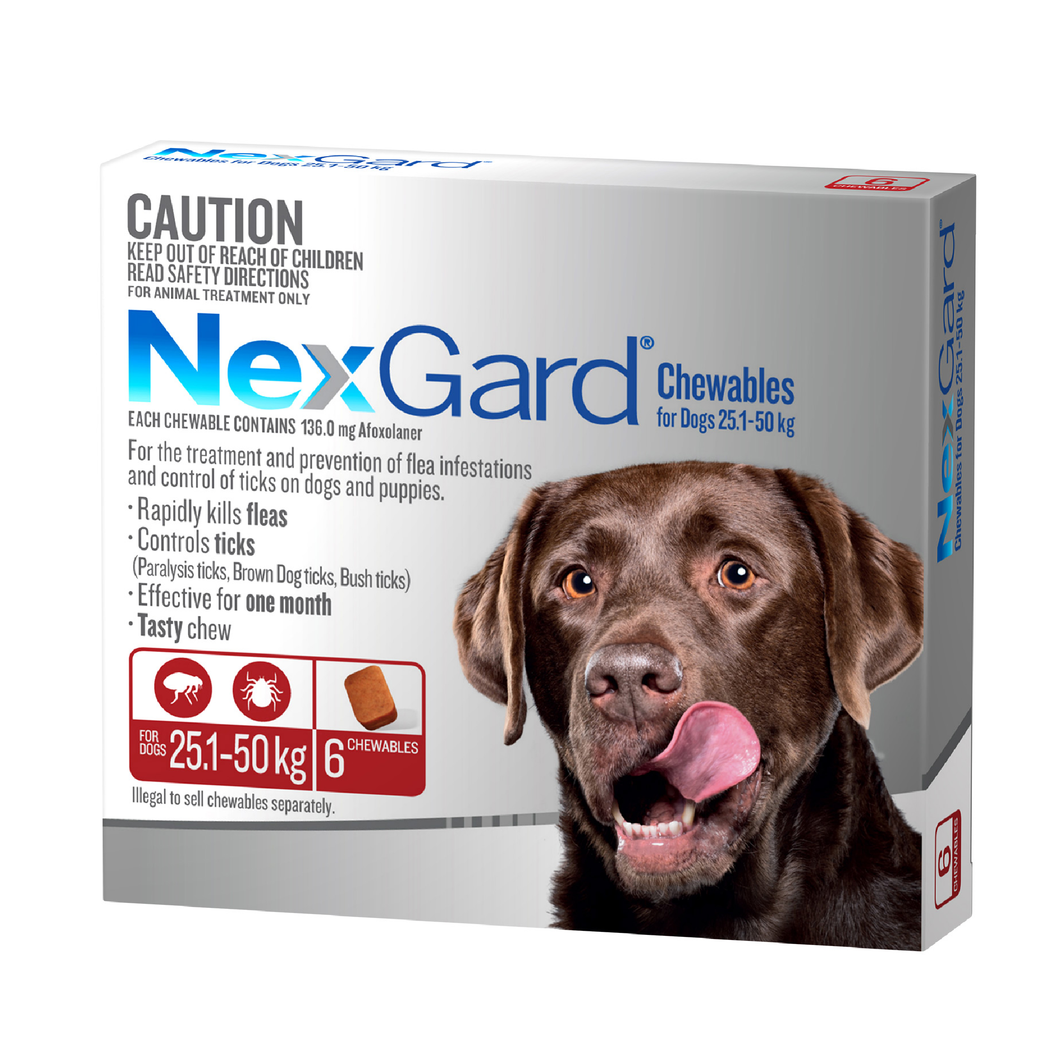 NexGard Chew Extra Large (Red) 25.1-50kg 6 Pack