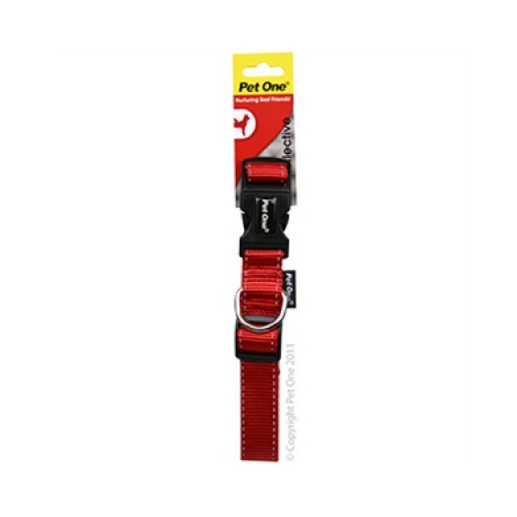 Collar Nylon Adjustable Reflective 25mm 40-65cm Red