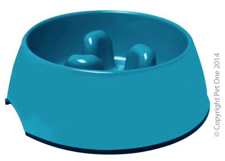 Bowl Melamine Round Slow Down Feeder 1200ml Turquoise