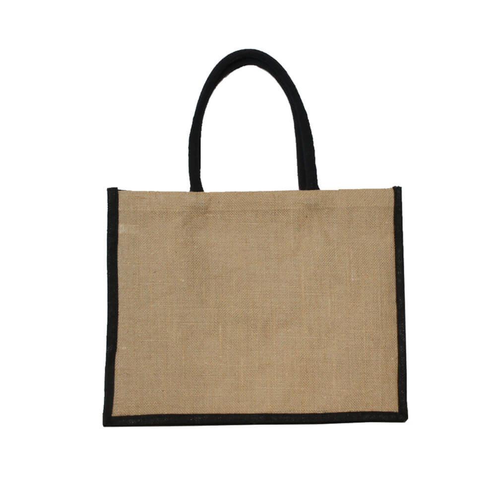 Natural and black jute bag, 43x34x18cm, PP lining, 50cm padded handles