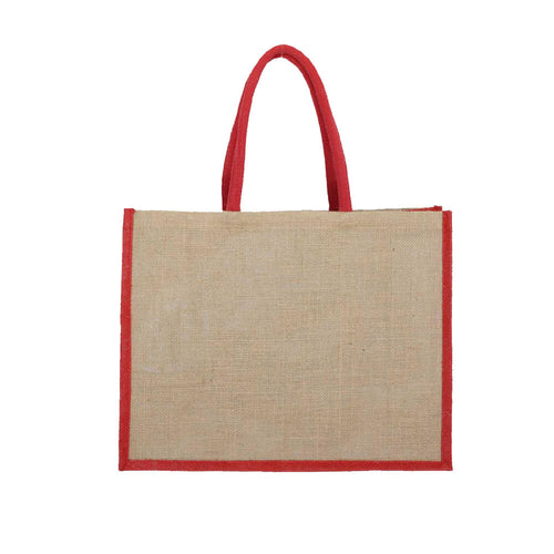 Natural and Red Shopping Bag