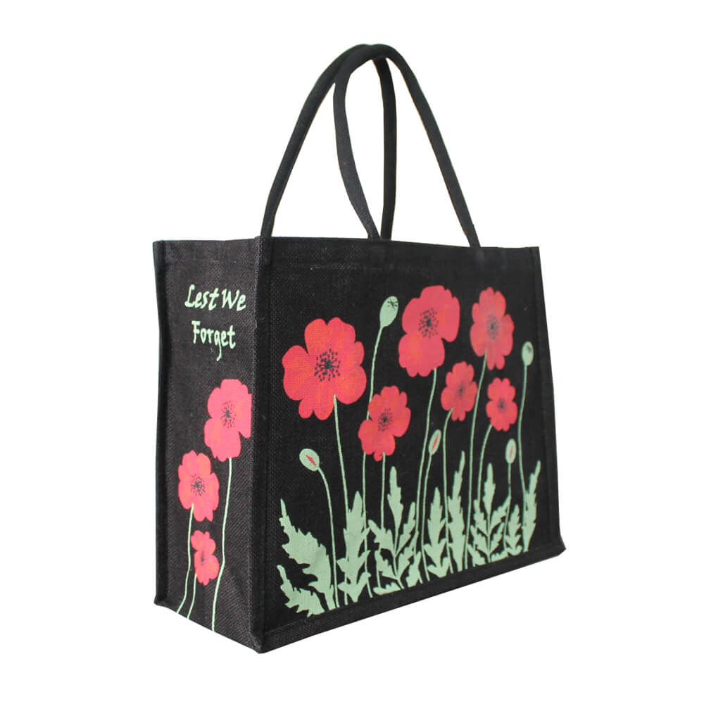 """Lest We Forget"" Poppy Jute Bag"