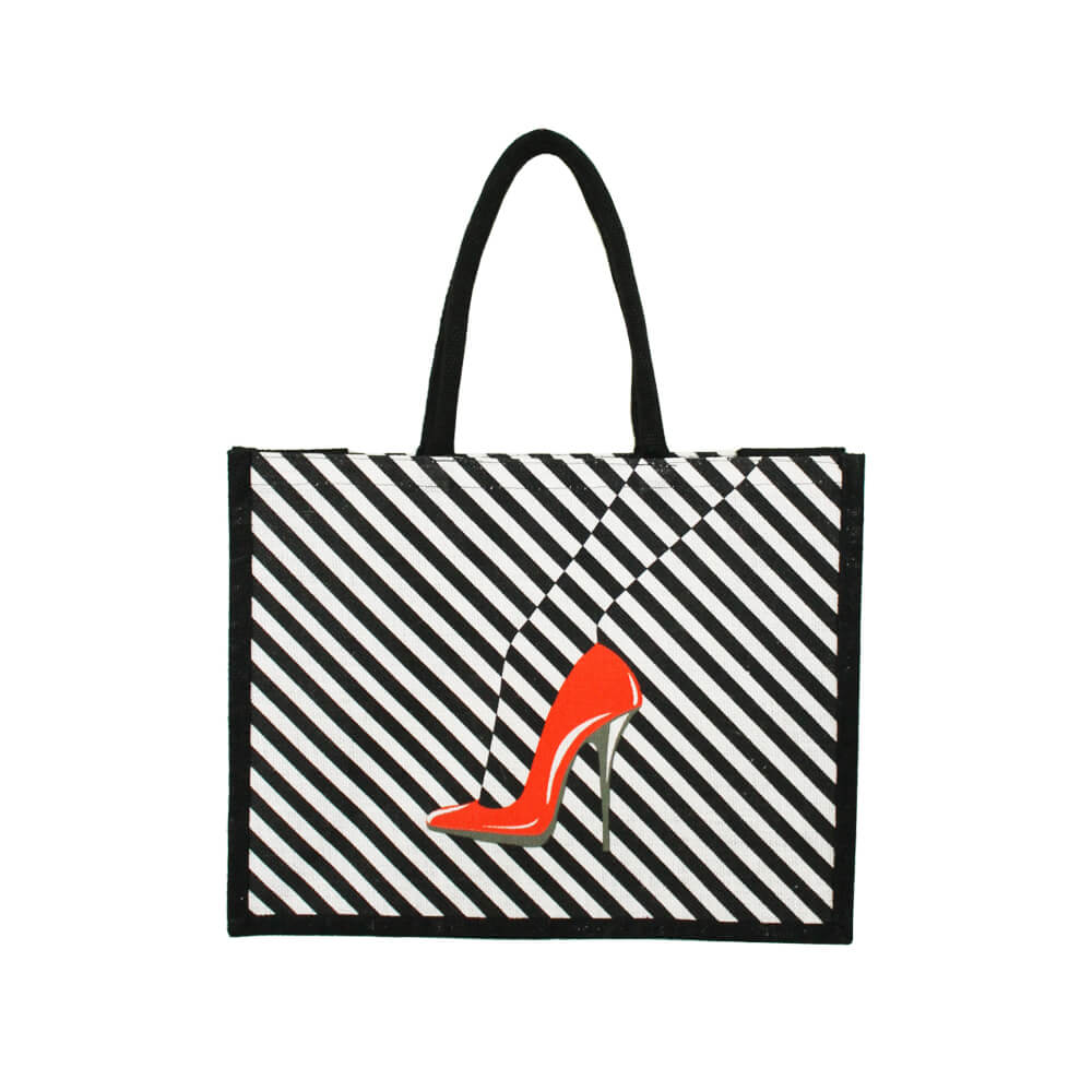 Red Shoe Jute Bag