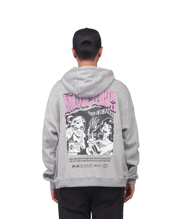 Web of death Zip Up Hoodie -heather grey