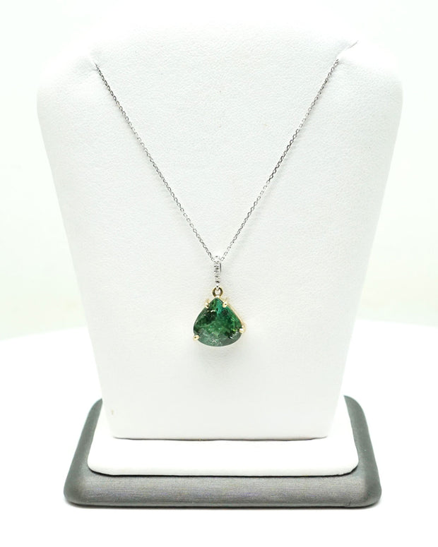 Green Tourmaline Pendant Necklace - 3.55 ct