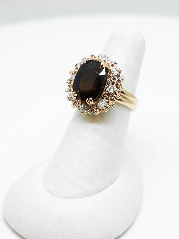 Handmade Dravite Ring with Diamonds