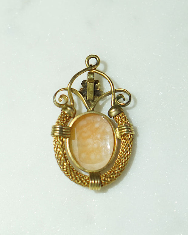 Vintage Elaborate Gold Cameo Pendant