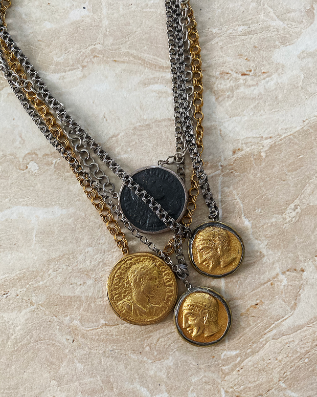 Multi-Tone Coin Necklace
