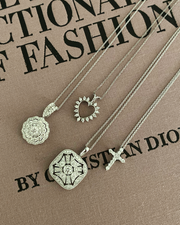 Round Drop Cluster Pendant Necklace