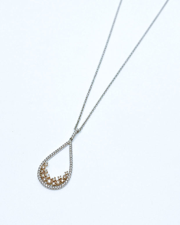 Two-Tone Tear Drop Pendant Necklace