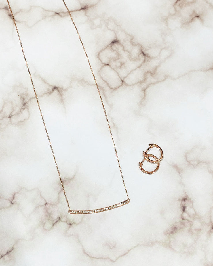 Diamond Bar Necklace - Rose Gold