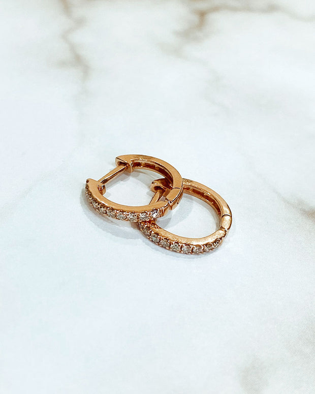 Diamond Huggie Earrings - Rose Gold