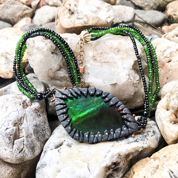 EC Black & Gold Ammolite and Diamond Necklace.