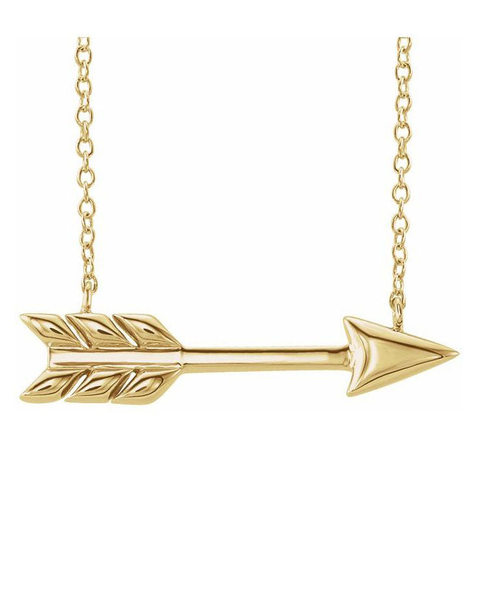 Arrow Necklace - 14K Yellow Gold