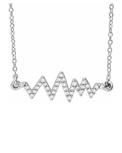 Diamond Heartbeat Necklace - 14K White Gold