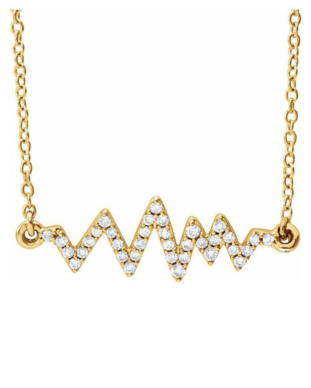 Diamond Heartbeat Necklace - 14K Yellow Gold