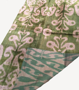 The Shepherd's Indulgence - Green Emerald Velvet-Silk Ikat Throw-Blanket / Wall piece
