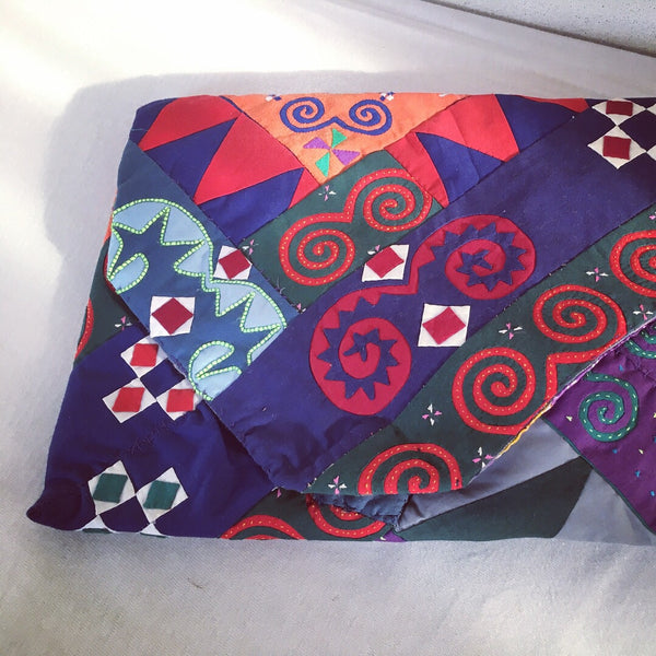 BATIK INDIGO Black Hmong Patchwork Clutch KolleKtion