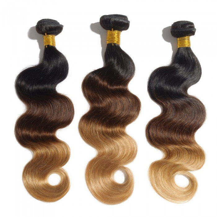 Ombre Brazilian Hair Bundles 1B/4/27 Non Remy Body Wave Weaving