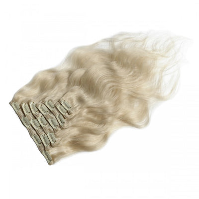 Body Wavy White Blonde Clip In
