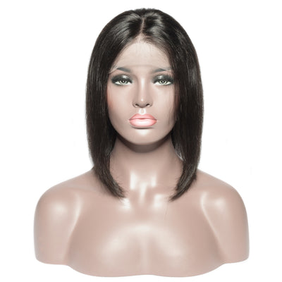 Virgin Hair Lace Front Natural Black Straight Bob Wigs
