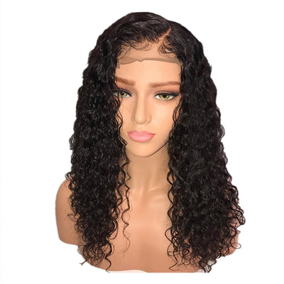 Pre-Plucked Brazilian Virgin Hair Lace Front Water Wavy Bob Wigs