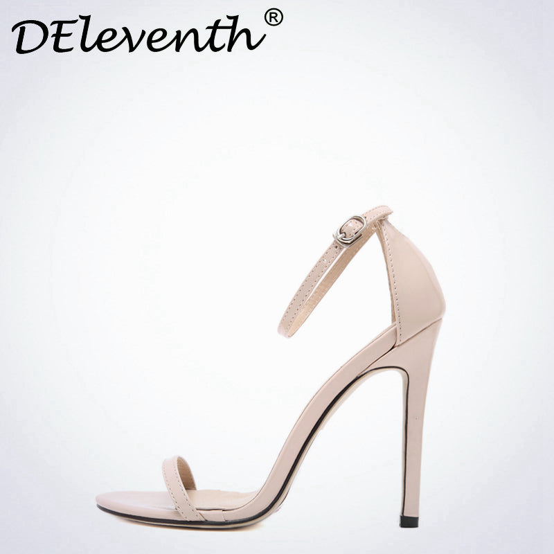 DEleventh Shoes Peep Toe Stiletto High Heels