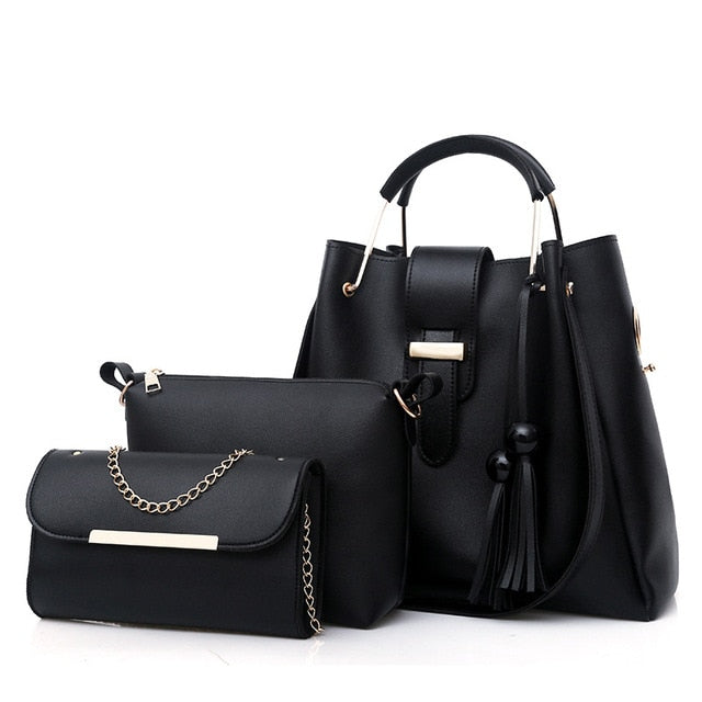 3Pcs/Sets Handbags Leather Shoulder Bags