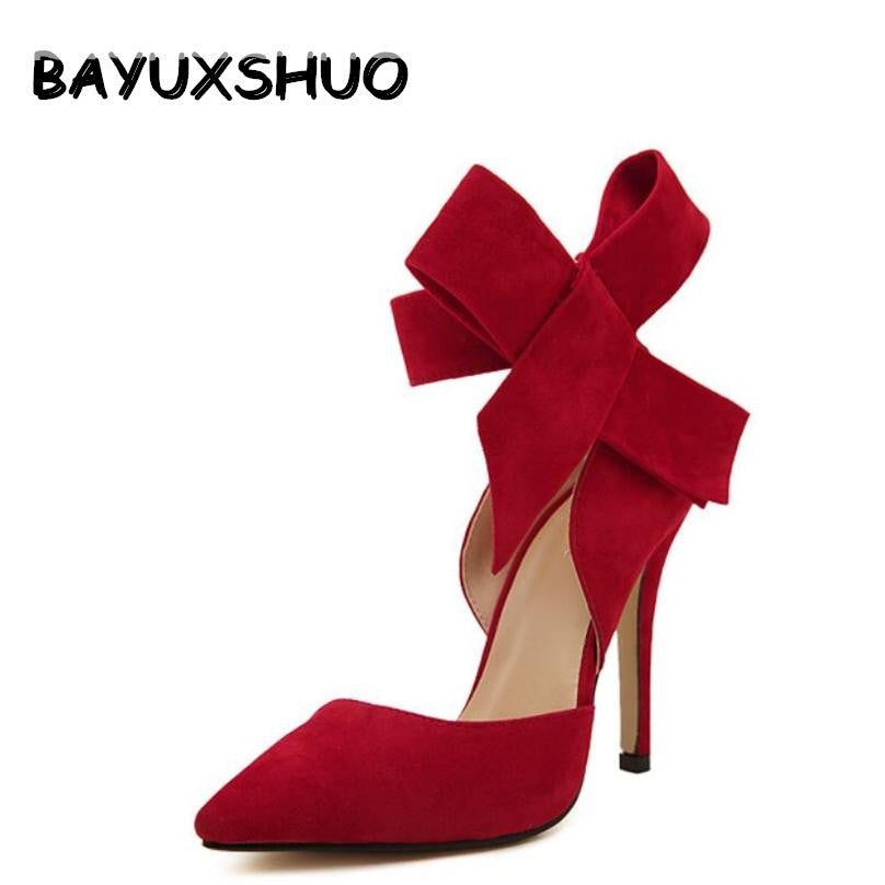 BAYUXSHUO Big Bow Tie Pumps Butterfly Pointed Stiletto Shoes