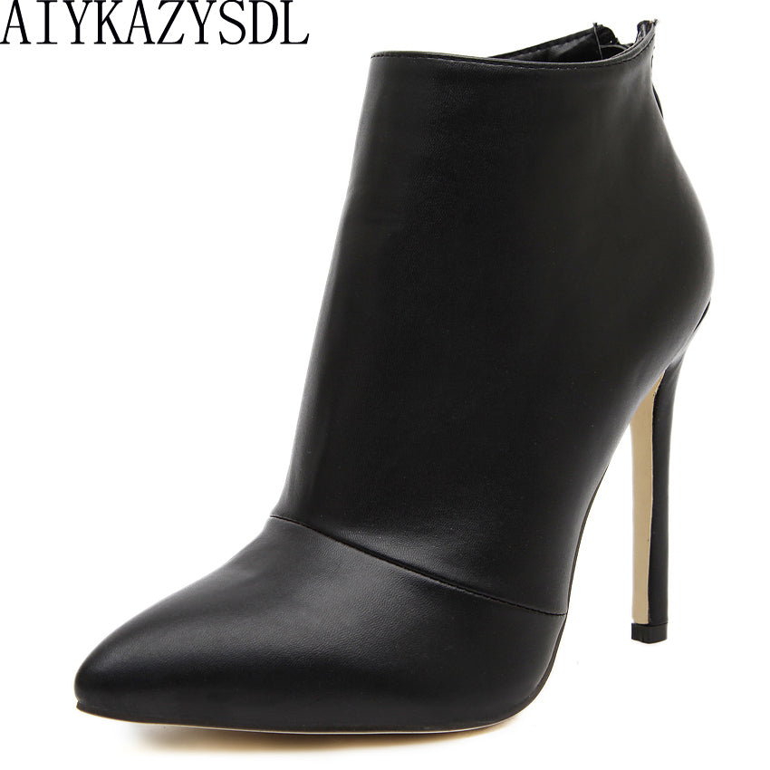 AIYKAZYSDL Women Pumps Boots Concise High Heel Shoes Woman Pointy Toe Back Zipper Dress Career Ankle Boots Short Bootie Stiletto
