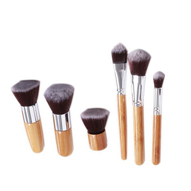 11/6pcs Natural Bamboo Makeup Brushes with Bag