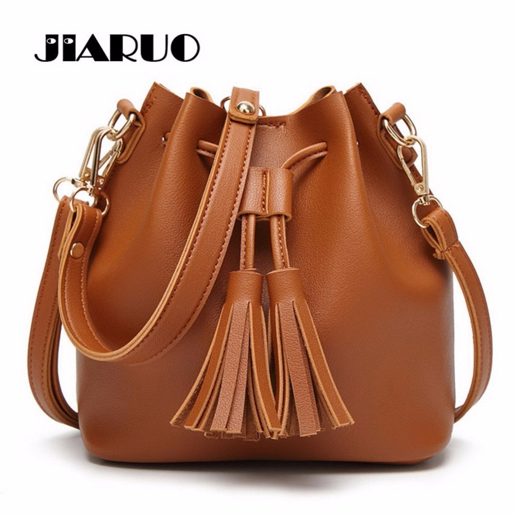 JIARUO Vintage Fashion Small Women Leather Bucket Bag Handbag Tassel Drawstring Shoulder Bag Messenger Crossbody Bags Purses