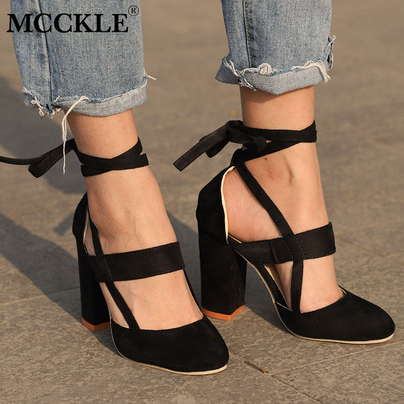 MCCKLE Ankle Strap High Heels Flock Gladiator Shoes