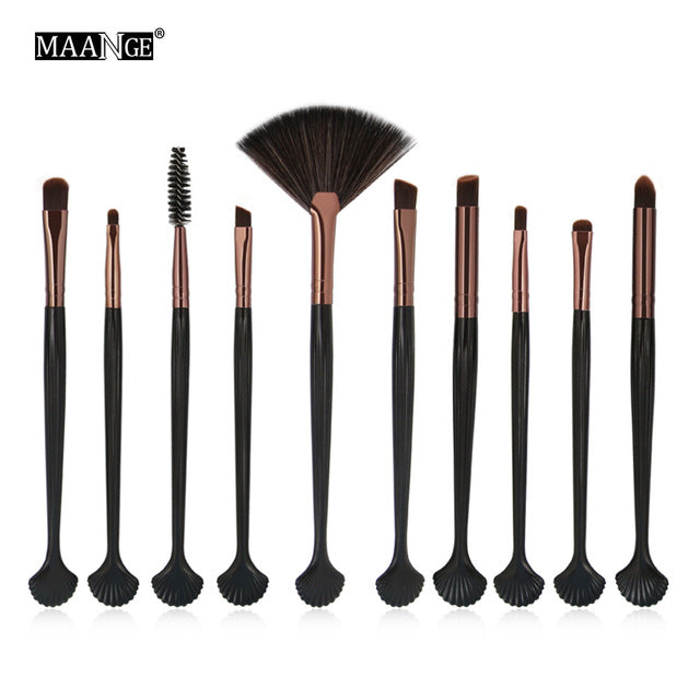 MAANGE 18Pcs Makeup Brushes Set Foundation Powder Blush 10pcs Eyeshadow Eyeliner