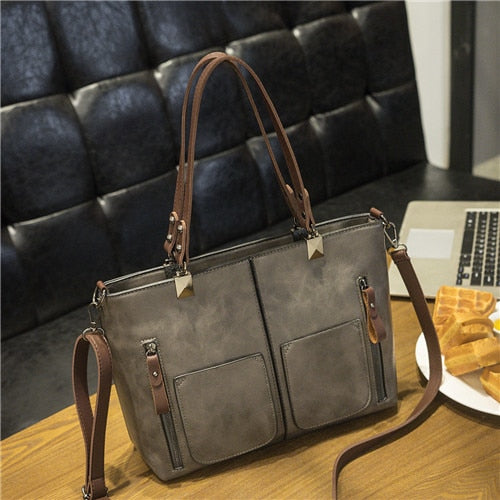 Retro PU Leather Shoulder Bag Causal Totes