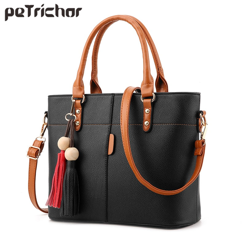 Petrichor Large Capacity Tassel Tote Bag Leather Crossbody Messenger Bags