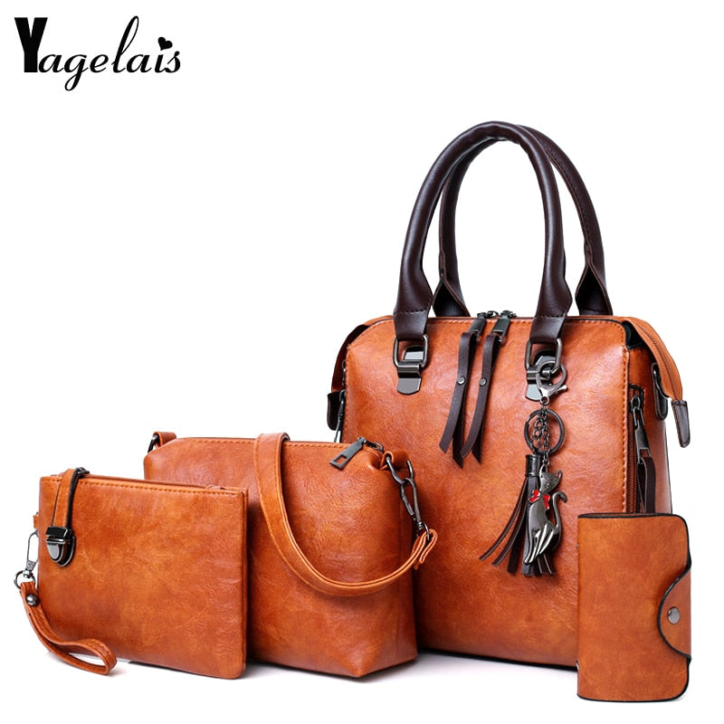 Composite Bag Luxury Leather Purse and Handbags Sac Top-Handle Shoulder Bag 4pcs Set