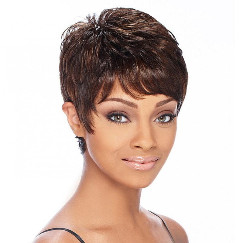 Fashion Brown Mixed Gloden Synthetic Noble Short Side Bang Fluffy Wavy Wig For Women