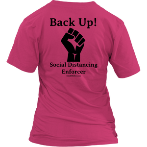 District Women's V-Neck: Back Up (on both sides)