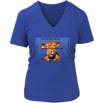 District Womens V-Neck: Beef Cow