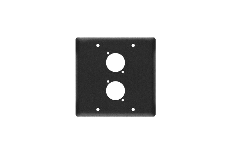 Elite Core EC-2G-2D Black Double Gang Wall Plate with 2 D-Series Punch Outs
