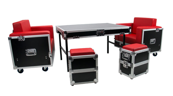 OSP ATA-GR-SET1-RED Green Room Furniture Set  - Black with Red Cushions