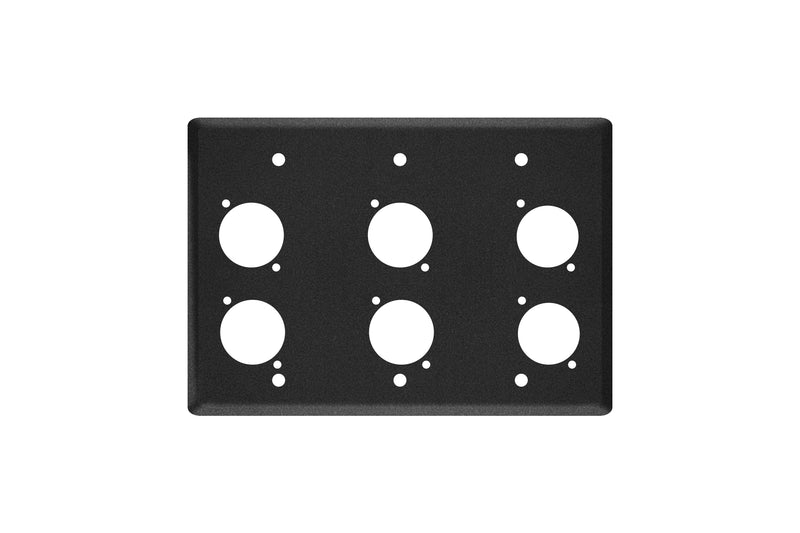 Elite Core EC-3G-6D Black Triple Gang Wall Plate with 6 D-Series Punch Outs