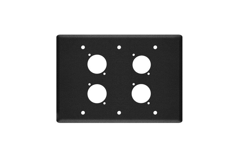 Elite Core EC-3G-4D Black Triple Gang Wall Plate with 4 D-Series Punch Outs