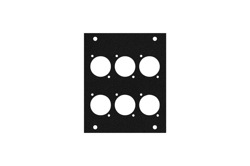 Elite Core ACE-PNL100-6D Black Metal Panel for Half Stage Pocket with 6 D-Series Punch-Outs